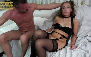 Charming cutie Kinuski in black lingerie gets rough fucked