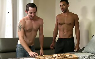 Pale skinny Latino guy pounded hardcore by his black gay boyfriend