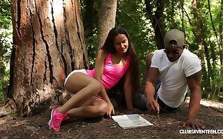Long haired horny teen babe Monica Brown pounded by a black dude