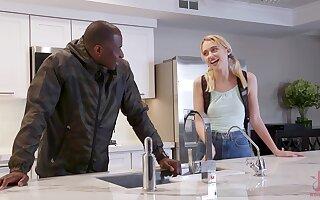 Teen sluts Chloe Cherry and Michele James share a big black cock
