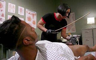 Asian nurse Mia Little abuses her black slave before he fucks her