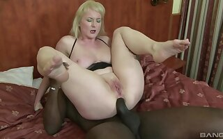 Mature whore with huge natural tits Monik ass fucked by a black guy