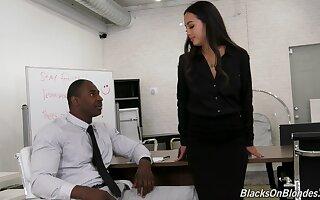 Asian office slut Mi Ha Doan gets on her knees and sucks a black cock