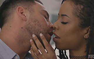 Pornstar Kira Noir with small tits fucked by a large white tool