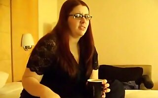 Nerdy fat white girl flashes a tit and tastes some black cock