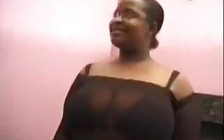 My plump ebony girlfriend in glasses loves threesomes