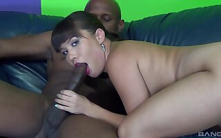 Interracial shag on the sofa with horny brunette MILF Mena Li