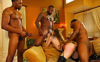 Bobbi Dylan loves having several guys share her well-used cunt