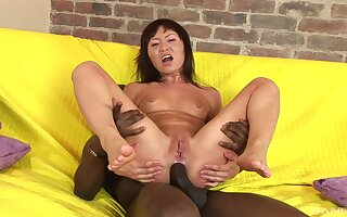 Wild interracial anal sex neither here nor there a upright a big black toff and an Asian whore