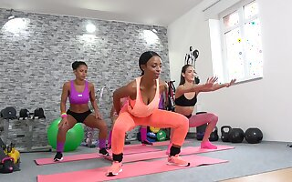 Flexi babes are having a disconsolate lesbian jeopardize during their yoga class