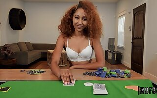 Curly woman plays with be transferred to dick in POV scenes after a poker game