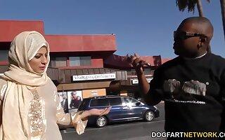 Black dude picks up Arab neonate Nadia Ali who gives him a blowjob and rides huge cock